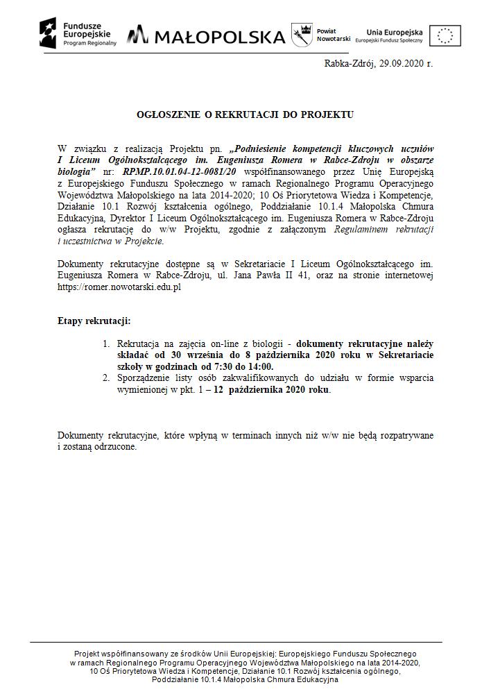 Ogłoszenie- rekrutacja do projektu Małopolska Chmura Edukacyjna